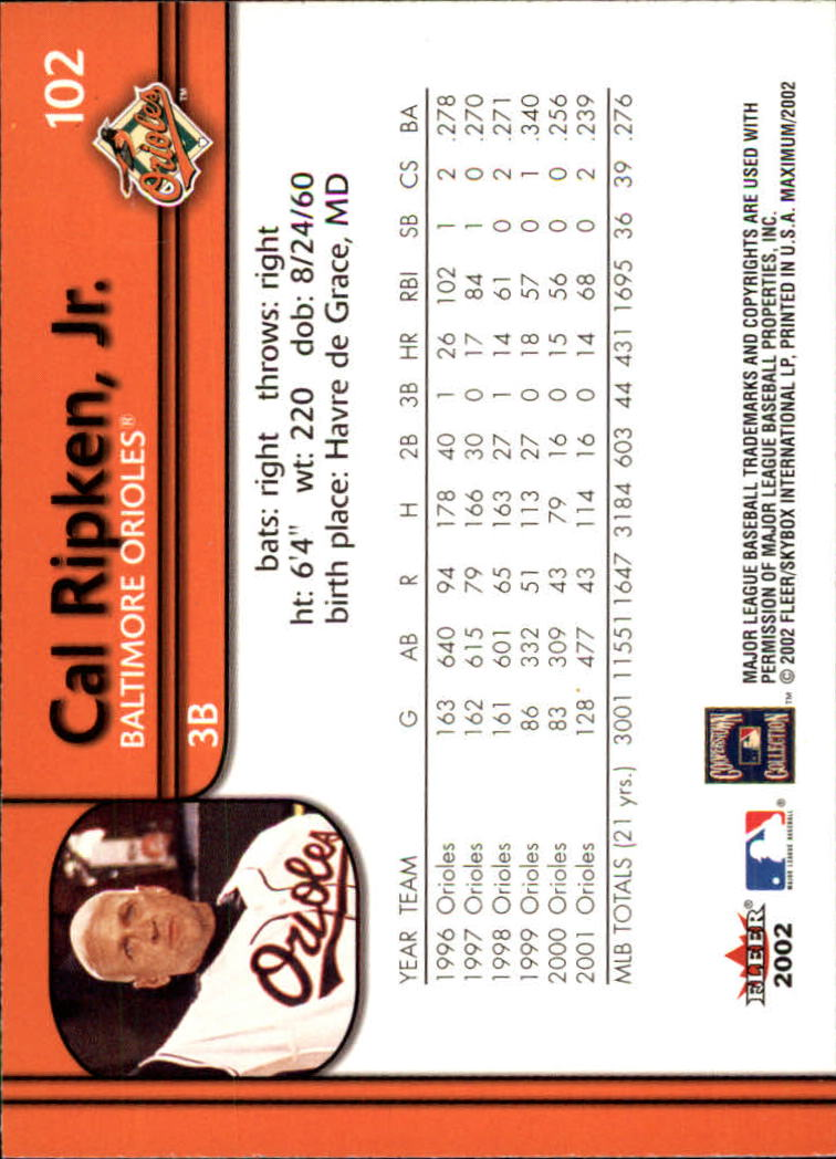 2002 Fleer Maximum #102 Cal Ripken back image
