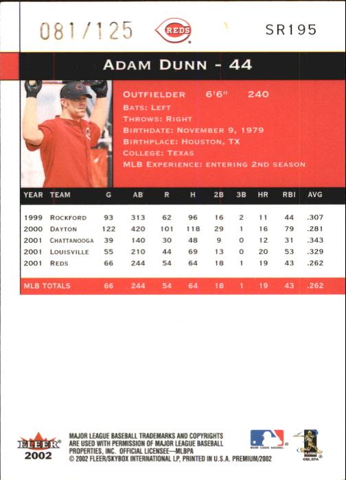 2002 Fleer Premium Star Ruby #195 Adam Dunn back image