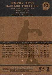 2002 Fleer Tradition #357 Barry Zito back image