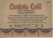 2002 Fleer Tradition Update #U384 Alex Rodriguez CC back image