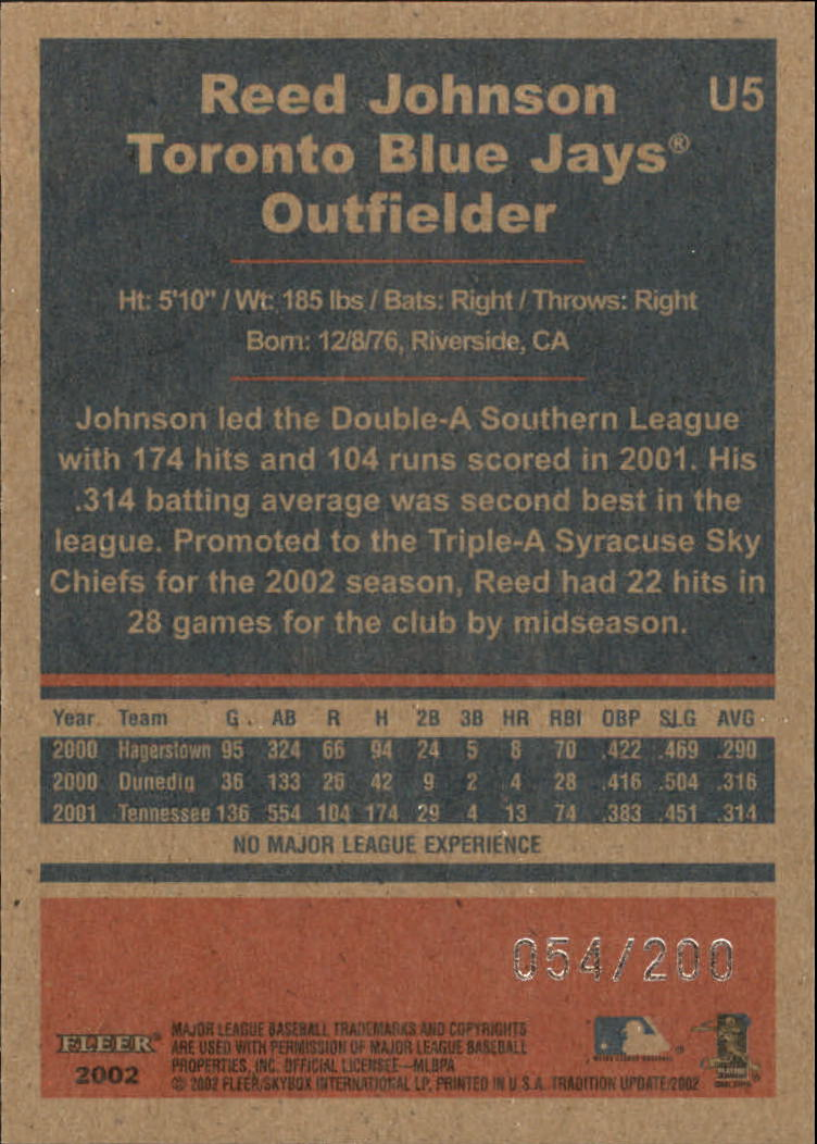 2002 Fleer Tradition Update Glossy #U5 Reed Johnson back image