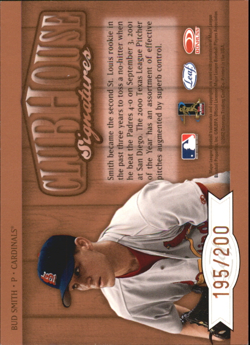 2002 Leaf Clubhouse Signatures Bronze #10 Bud Smith/200 back image