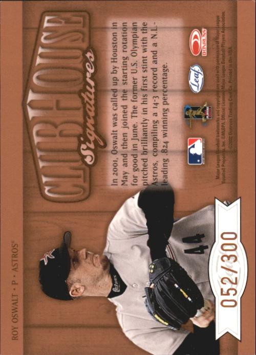 2002 Leaf Clubhouse Signatures Bronze #27 Roy Oswalt/300 back image