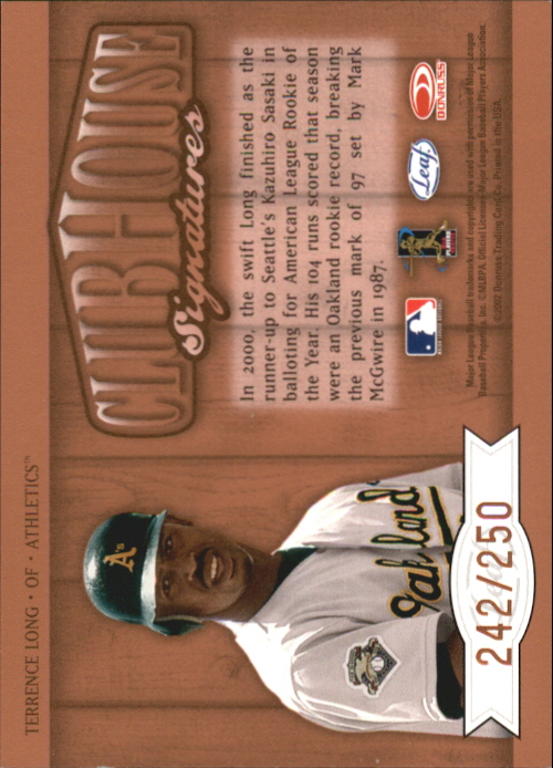 2002 Leaf Clubhouse Signatures Bronze #30 Terrence Long/250 back image