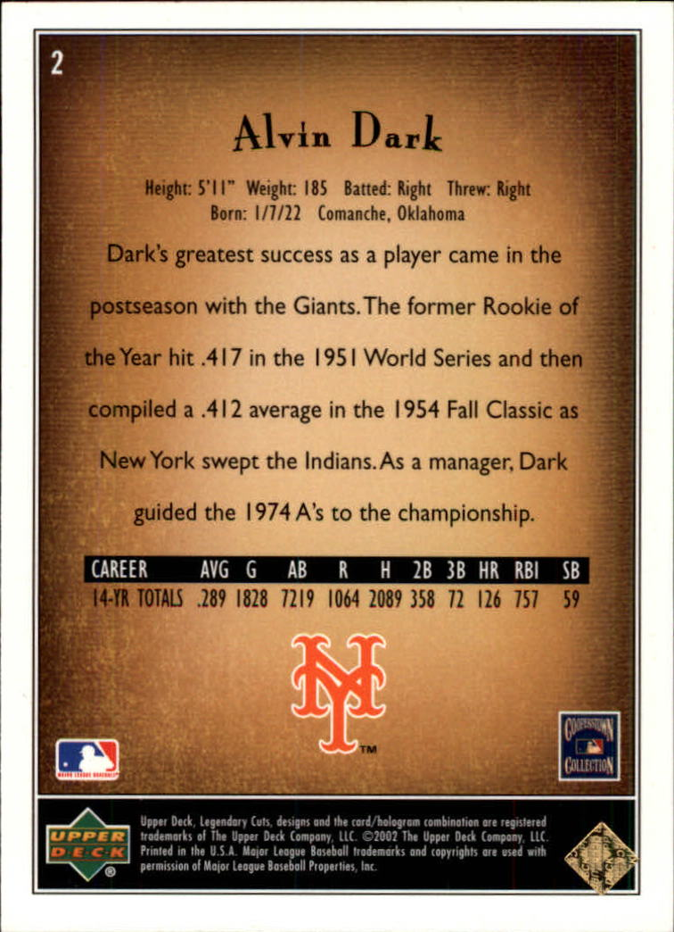 2002 SP Legendary Cuts #2 Alvin Dark back image