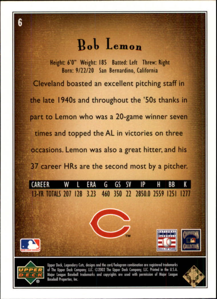 2002 SP Legendary Cuts #6 Bob Lemon back image