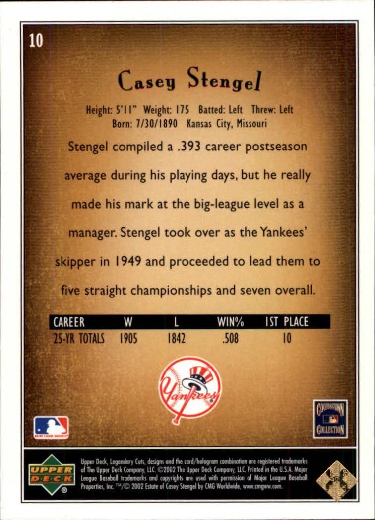 2002 SP Legendary Cuts #10 Casey Stengel back image