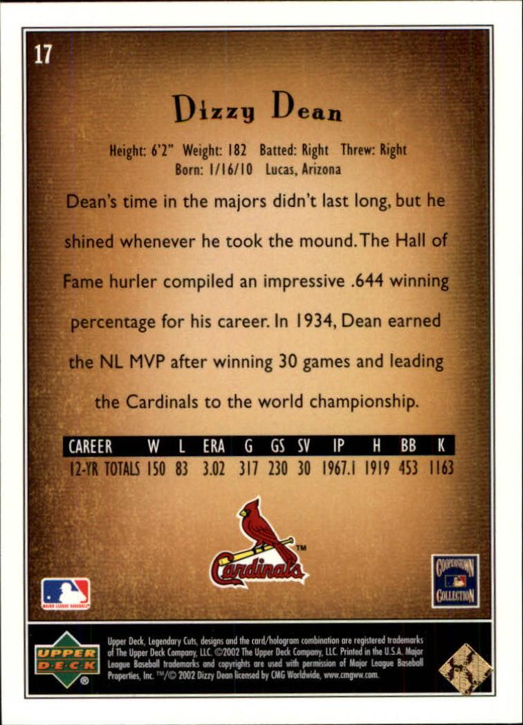 2002 SP Legendary Cuts #17 Dizzy Dean back image
