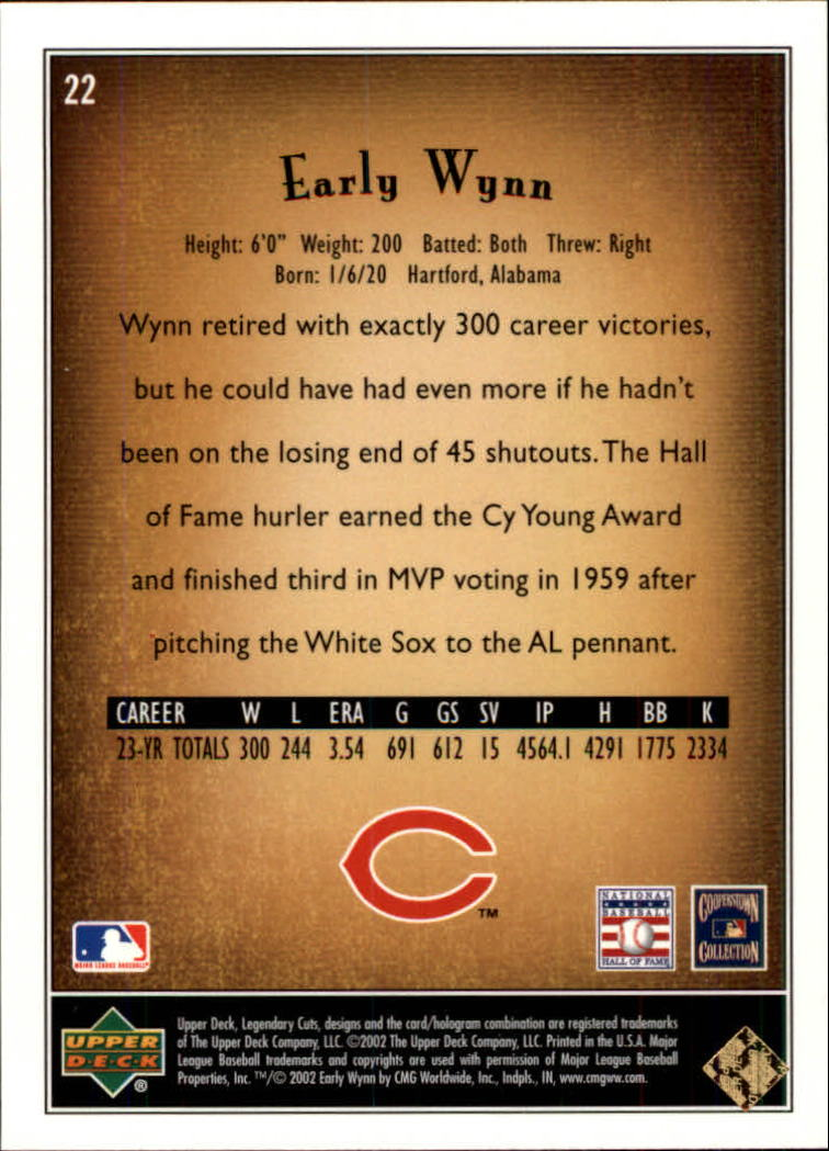 2002 SP Legendary Cuts #22 Early Wynn back image