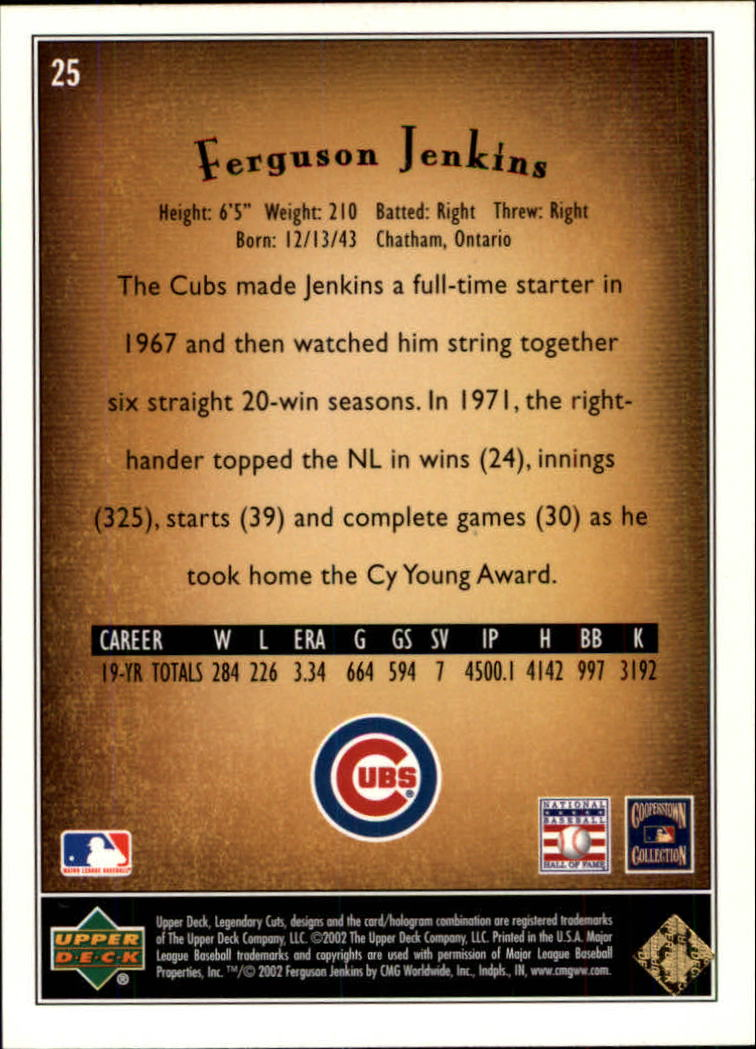 2002 SP Legendary Cuts #25 Ferguson Jenkins back image