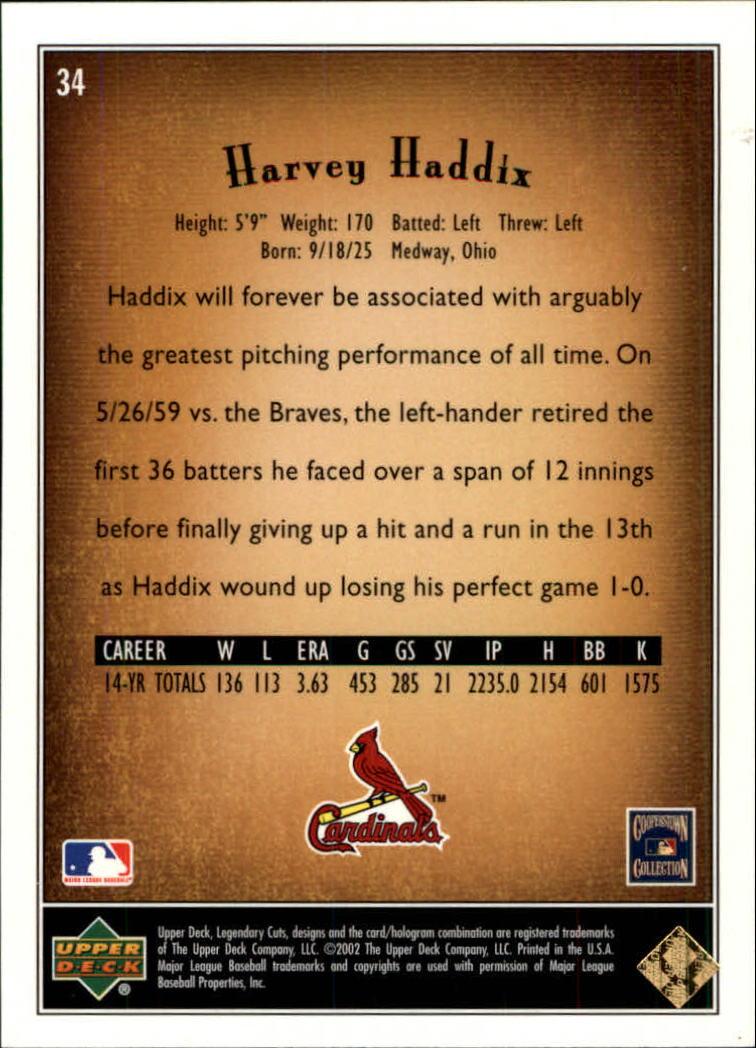 2002 SP Legendary Cuts #34 Harvey Haddix back image