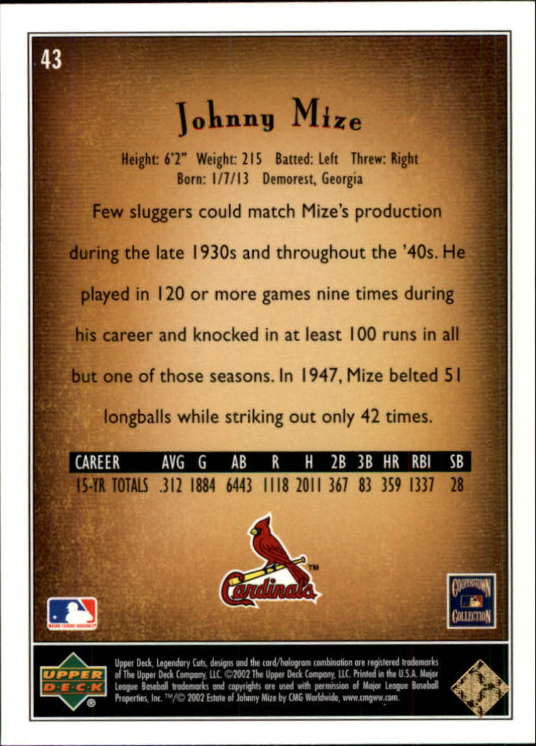 2002 SP Legendary Cuts #43 Johnny Mize back image