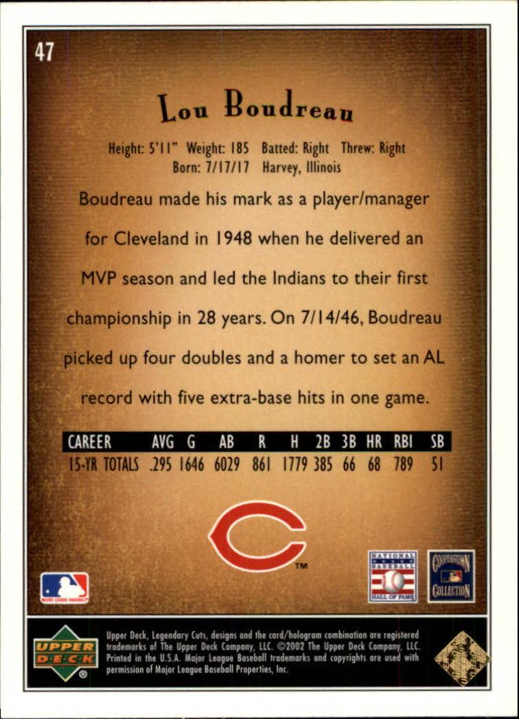 2002 SP Legendary Cuts #47 Lou Boudreau back image