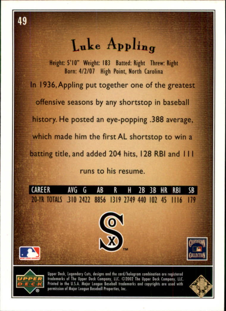 2002 SP Legendary Cuts #49 Luke Appling back image