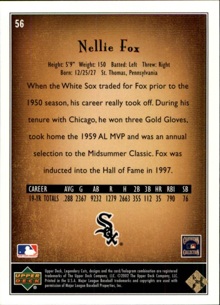 2002 SP Legendary Cuts #56 Nellie Fox back image