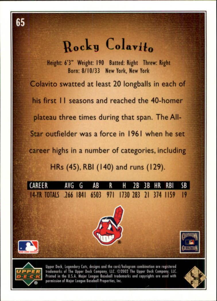 2002 SP Legendary Cuts #65 Rocky Colavito back image