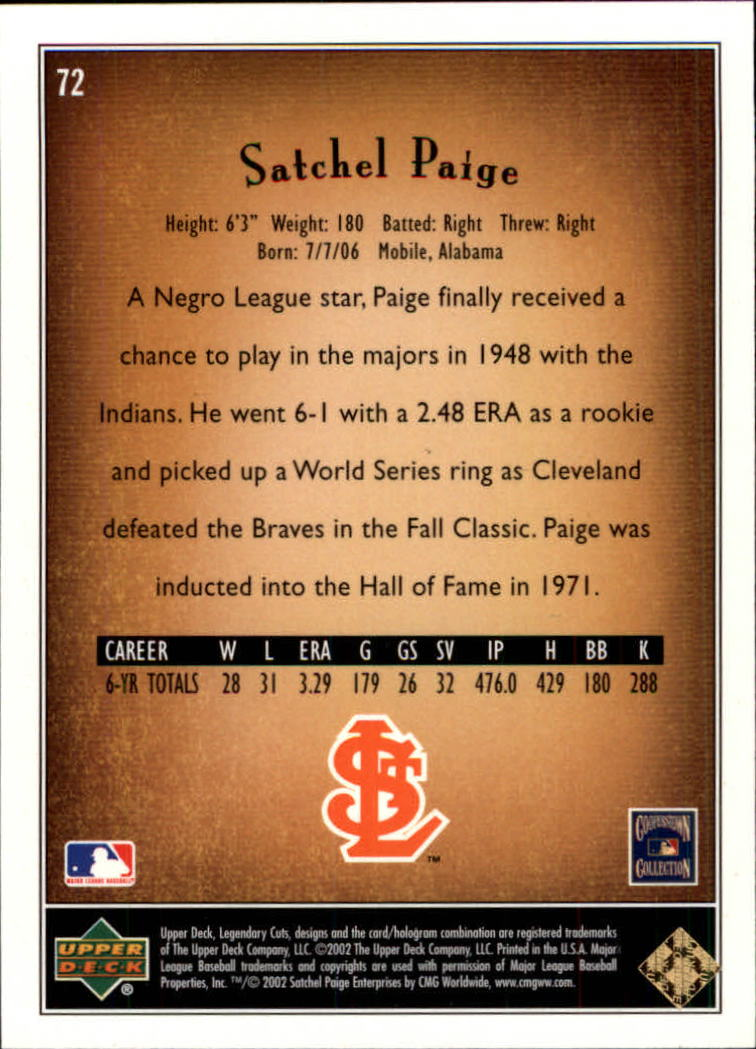 2002 SP Legendary Cuts #72 Satchel Paige back image