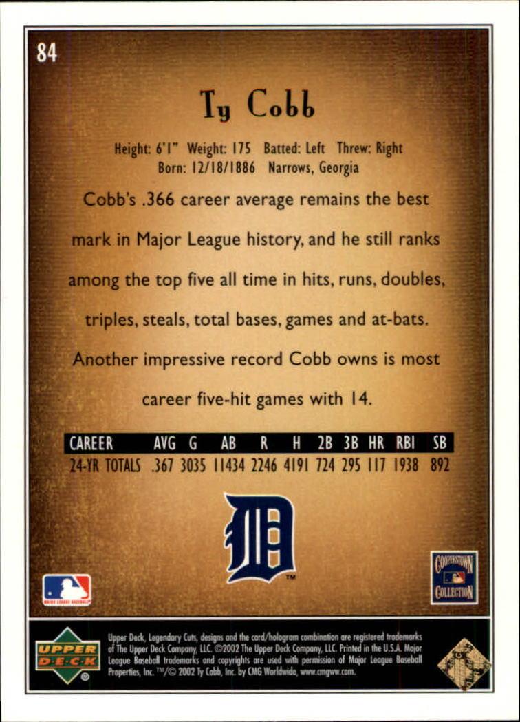 2002 SP Legendary Cuts #84 Ty Cobb back image