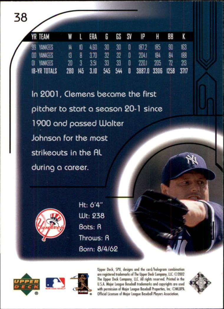 2002 SPx #38 Roger Clemens back image