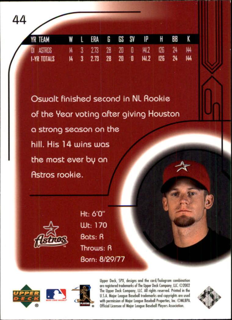 2002 SPx #44 Roy Oswalt back image