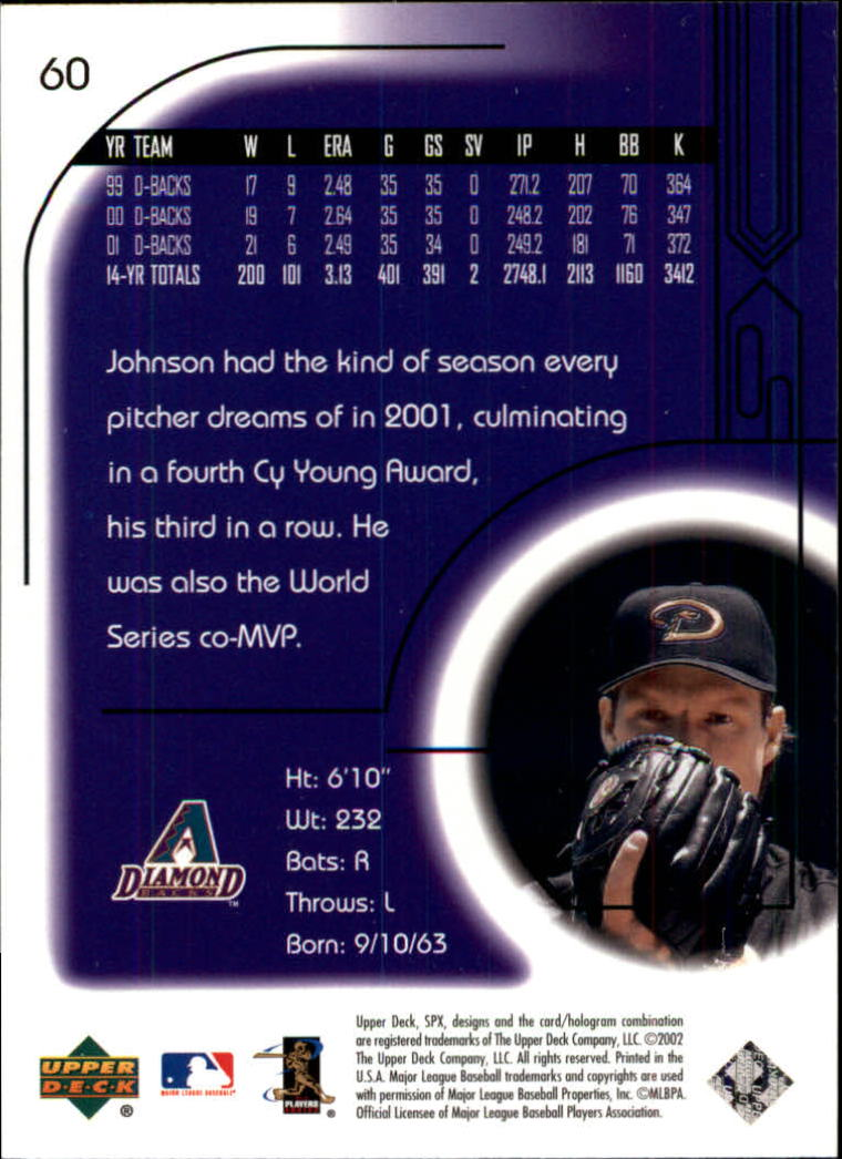 2002 SPx #60 Randy Johnson back image