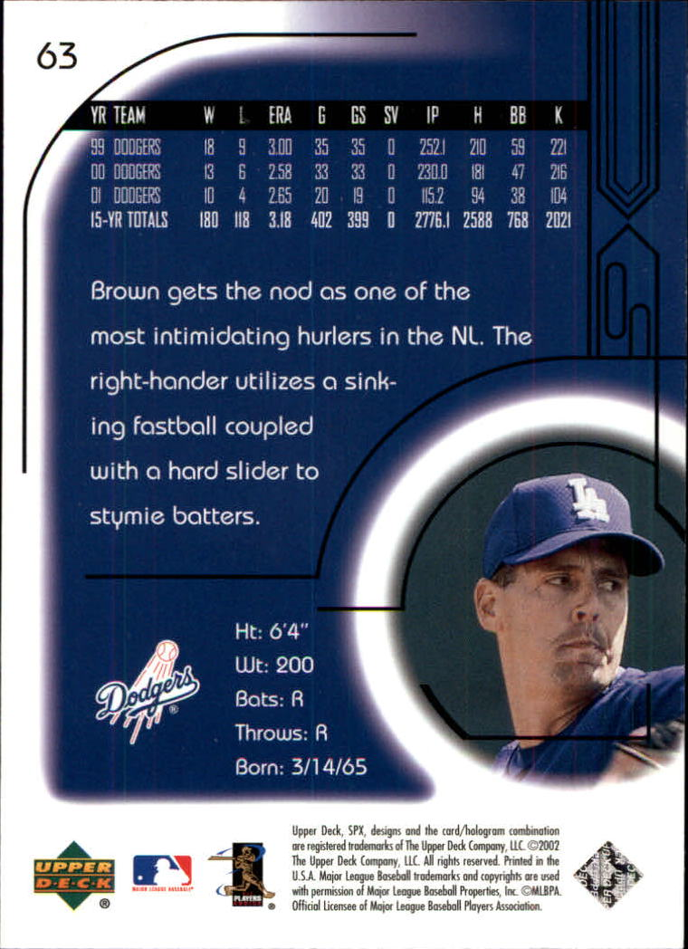 2002 SPx #63 Kevin Brown back image