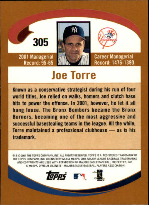 2002 Topps Limited #305 Joe Torre back image
