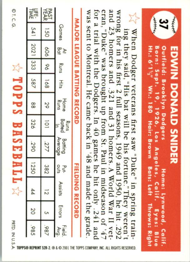 2002 Topps 1952 Reprints #52R2 Duke Snider back image