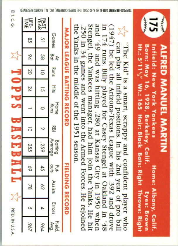 2002 Topps 1952 Reprints #52R6 Billy Martin back image
