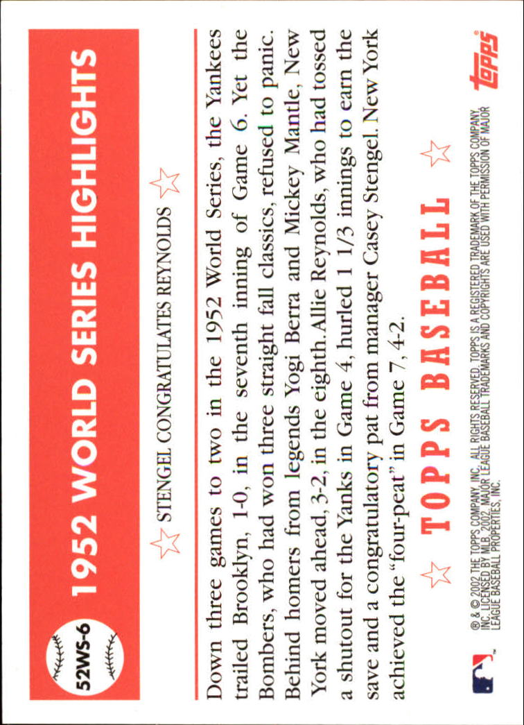 2002 Topps 1952 World Series Highlights #52WS6 Stengel/Reynolds 2 back image