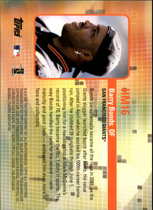 2002 Topps Hobby Masters #HM16 Barry Bonds back image