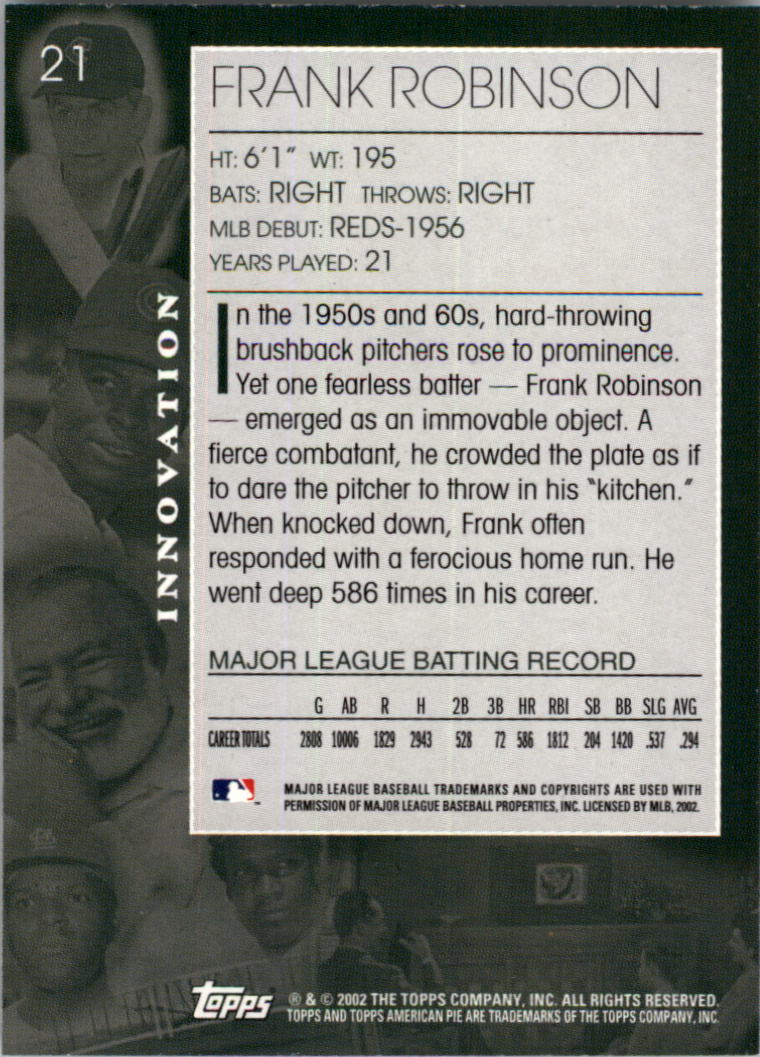 2002 Topps American Pie #21 Frank Robinson back image