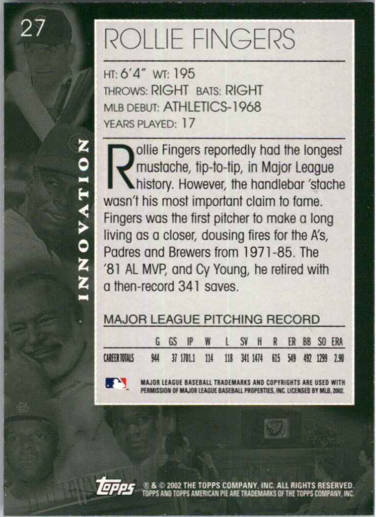 2002 Topps American Pie #27 Rollie Fingers back image