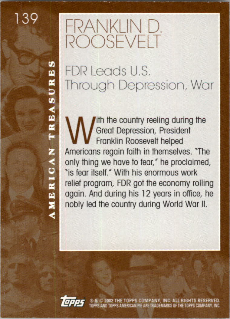 2002 Topps American Pie #139 Franklin D. Roosevelt back image