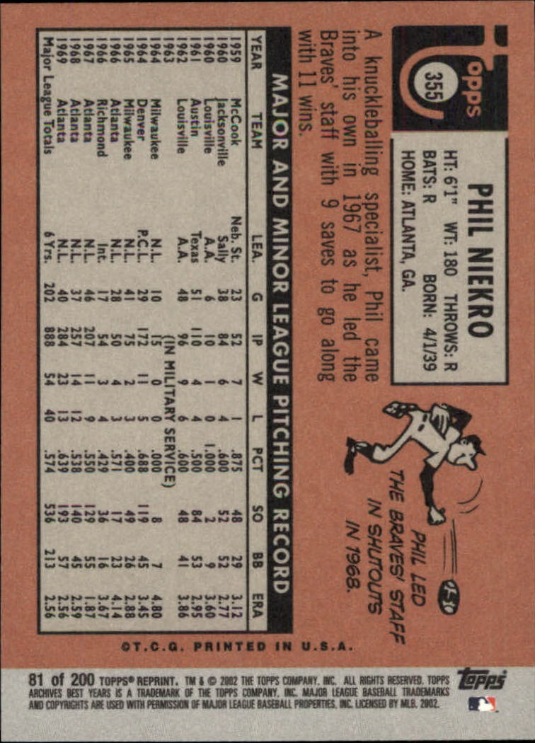 2002 Topps Archives #81 Phil Niekro 69 back image