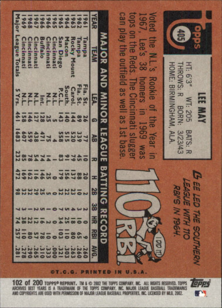 2002 Topps Archives #102 Lee May 69 back image
