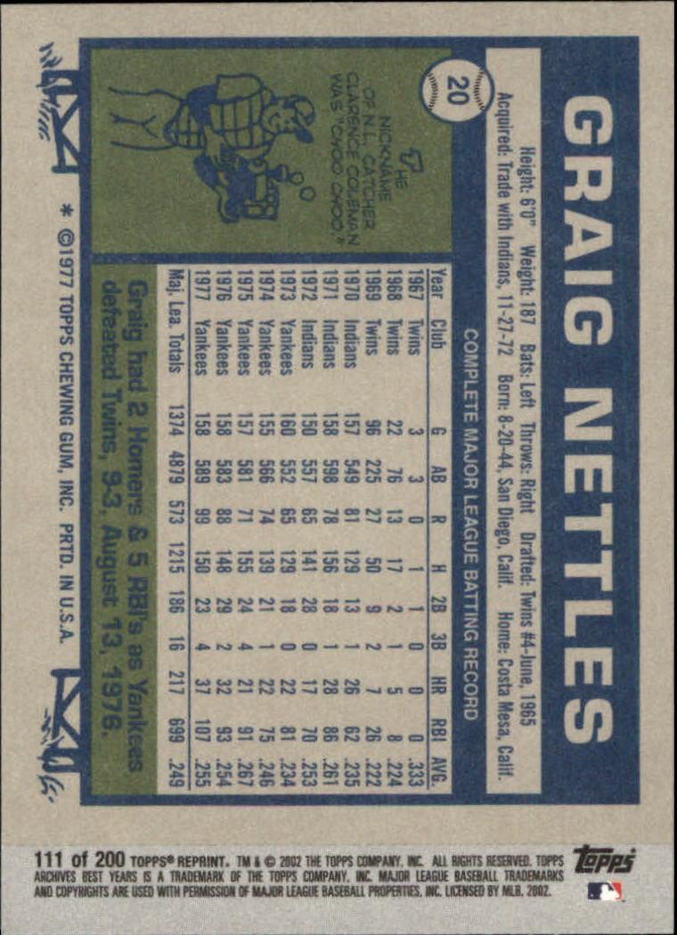 2002 Topps Archives #111 Graig Nettles 77 back image