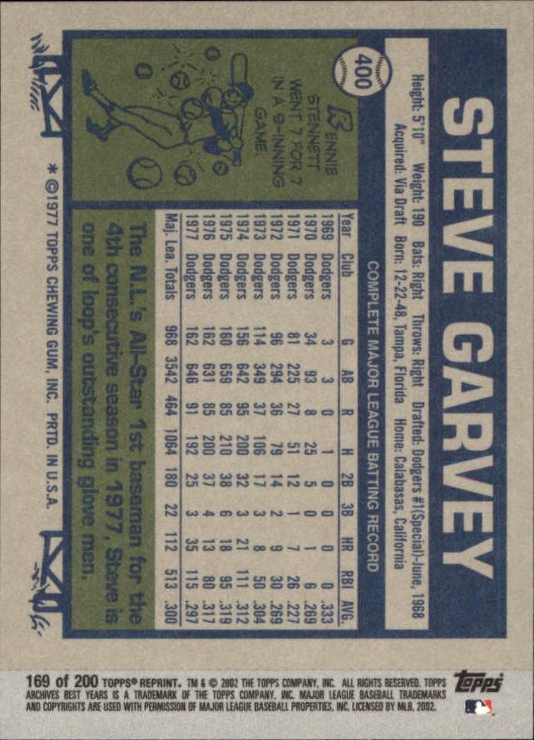2002 Topps Archives #169 Steve Garvey 77 back image