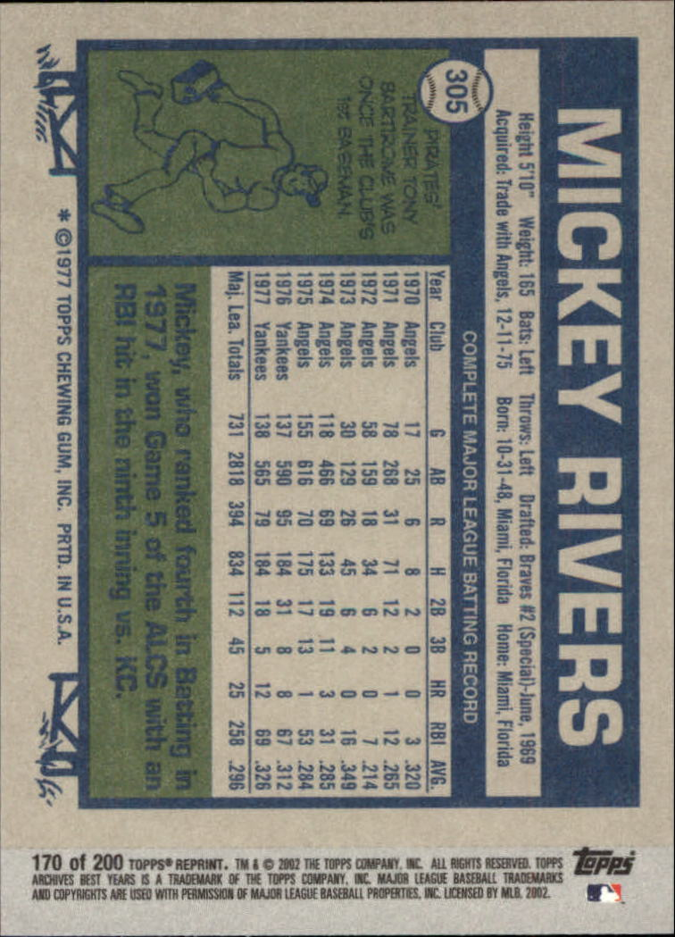 2002 Topps Archives #170 Mickey Rivers 77 back image