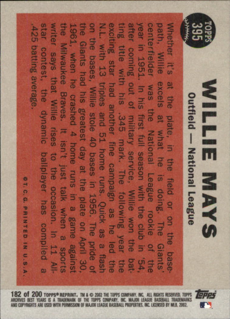 2002 Topps Archives #182 Willie Mays 62 AS back image