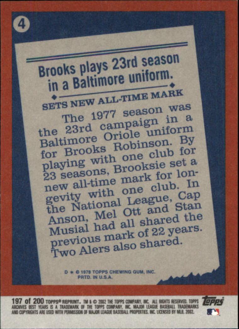 2002 Topps Archives #197 Brooks Robinson 78 HL back image