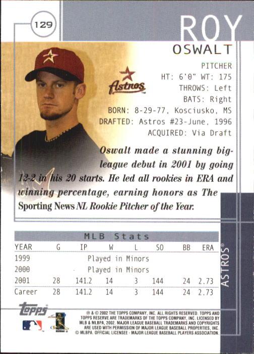 2002 Topps Reserve #129 Roy Oswalt back image