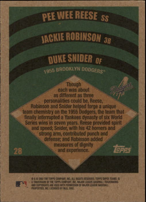 2002 Topps Super Teams #28 Reese/J.Robinson/Snider back image