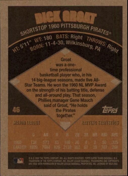 2002 Topps Super Teams #46 Dick Groat back image