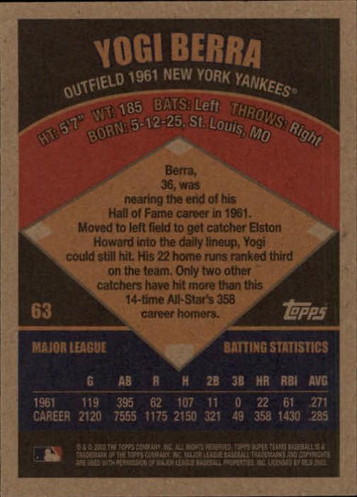 2002 Topps Super Teams #63 Yogi Berra back image
