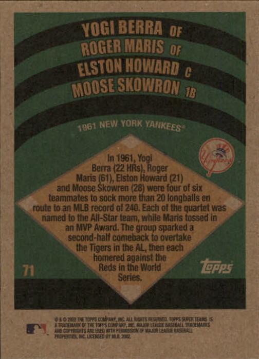 2002 Topps Super Teams #71 Berra/Maris/Howard/Moose back image