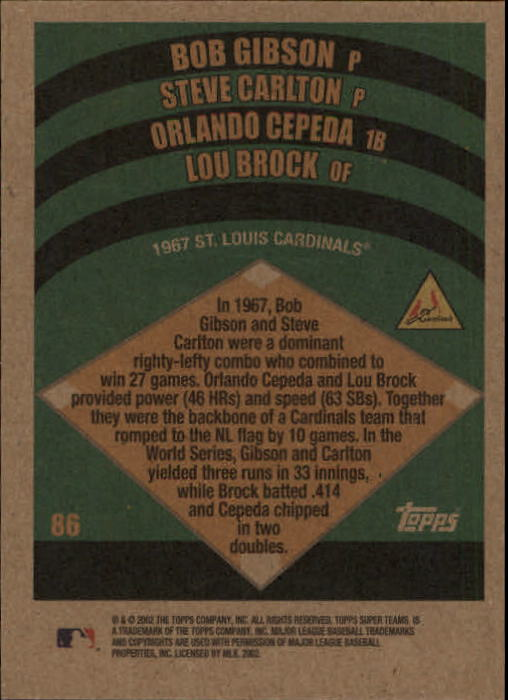 2002 Topps Super Teams #86 Gibson/Carlton/Cepeda/Brock back image