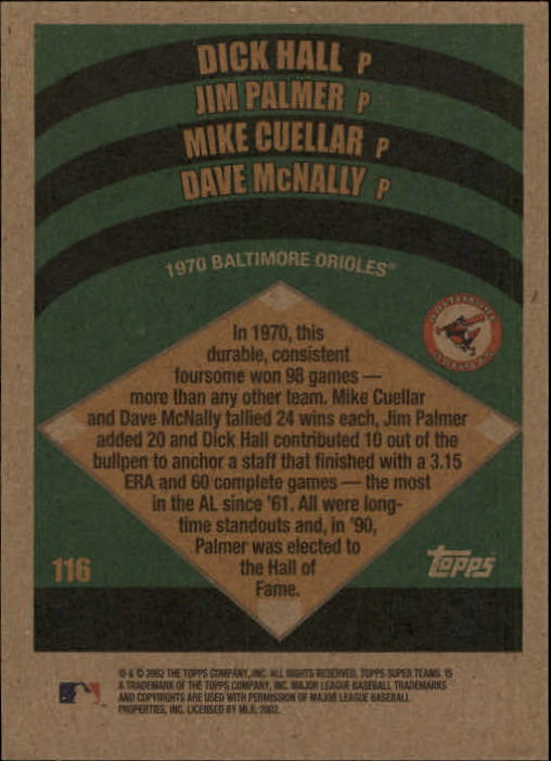 2002 Topps Super Teams #116 Hall/Palmer/Cuellar/McNally back image