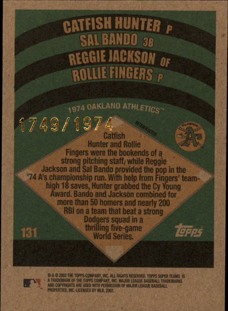 2002 Topps Super Teams Retrofractors #131 Hunter/Bando/Reggie/Fingers back image