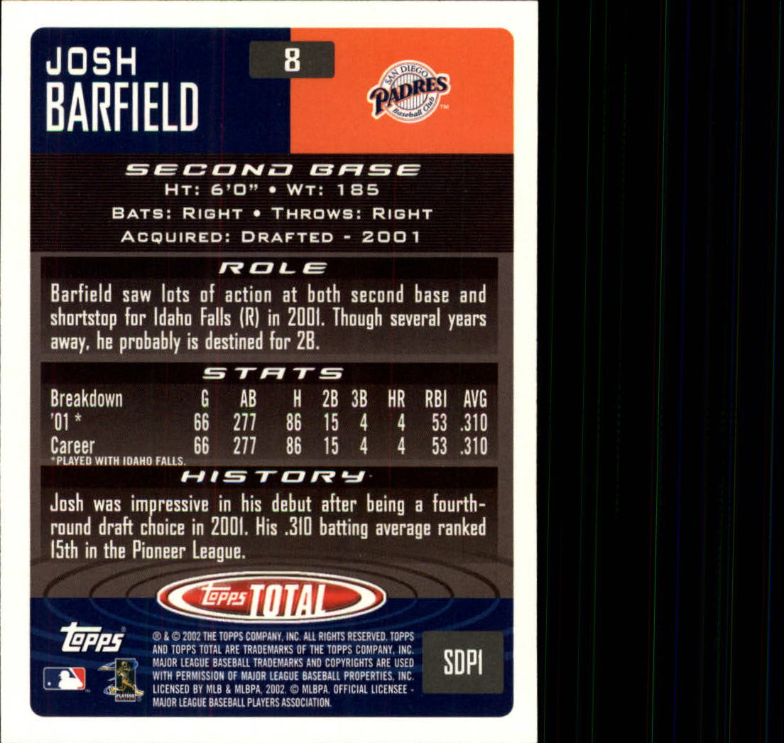 2002 Topps Total #8 Josh Barfield RC back image